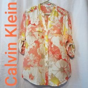 Calvin Klein floral roll tab button sleeve shirt